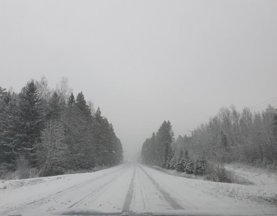 landsväg med snö och skog runtomkring,