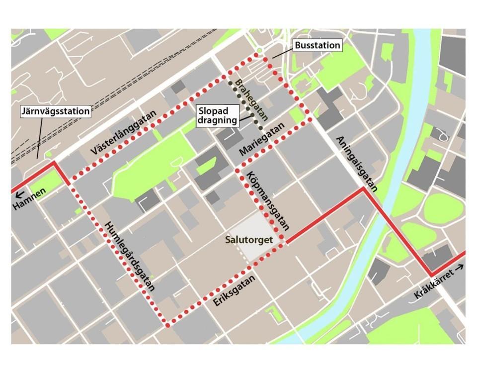 Karta över hur spårvagnar kunde gå i Åbo