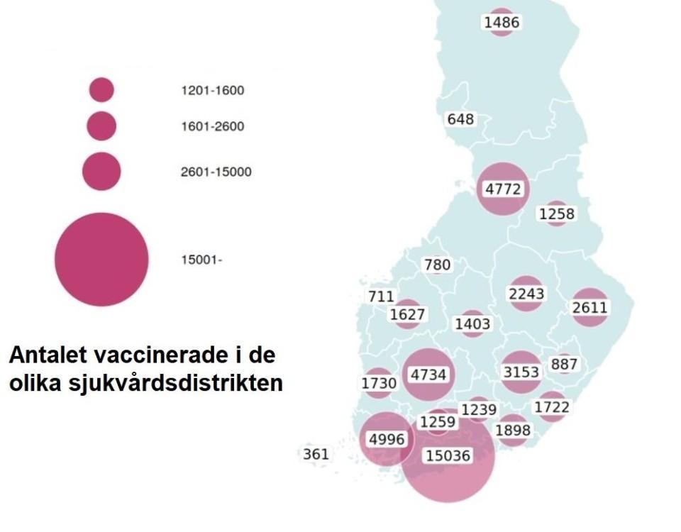 Karta över hur människor har vaccinerats