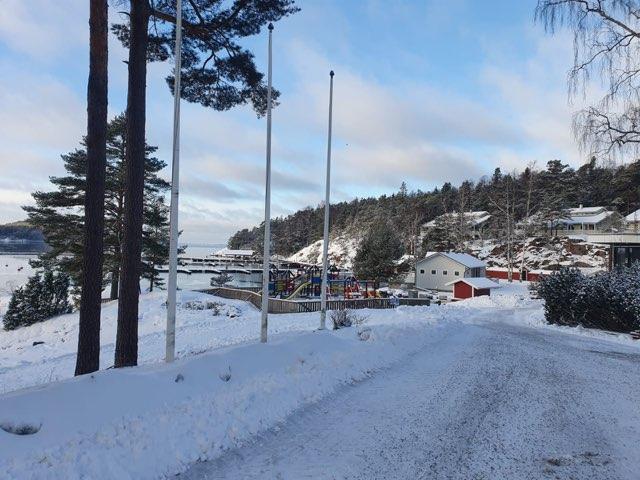 vinterbild av populär gästhamn och marina