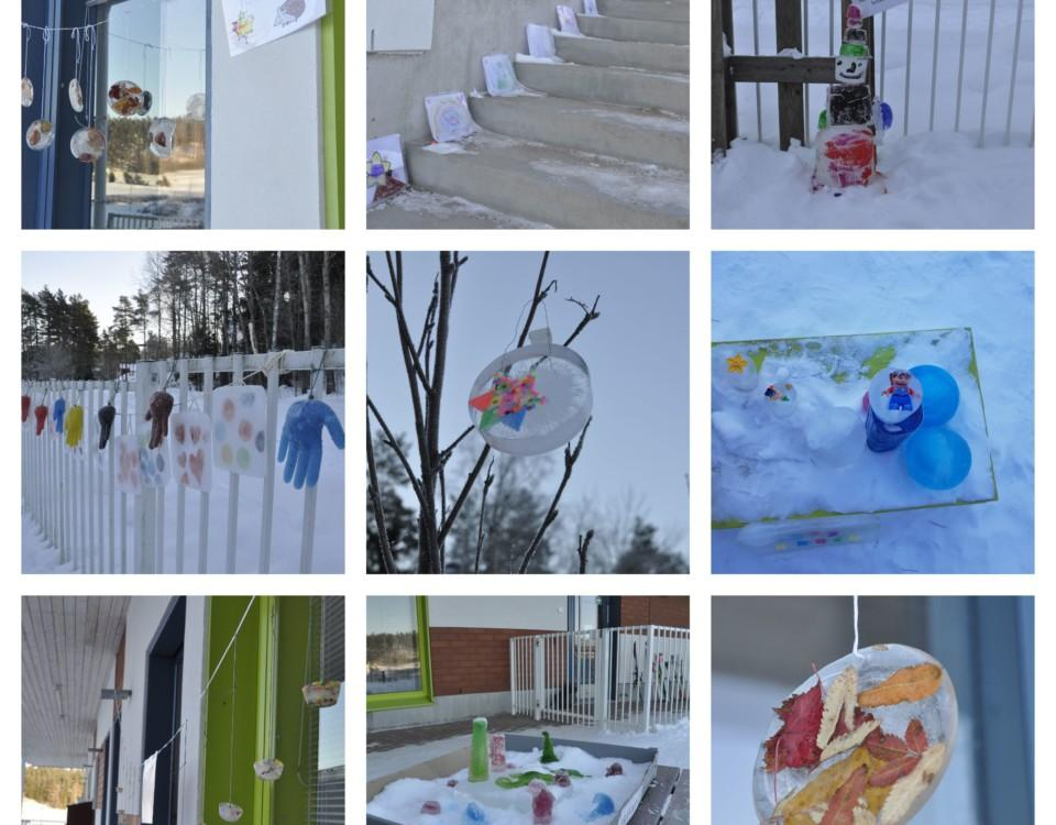 collage av många olika former av iskonstverk utomhus gjorda av barn.