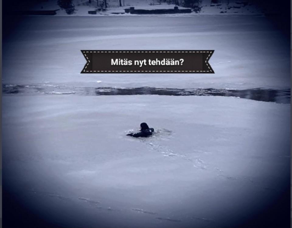 en man som gått genom isen