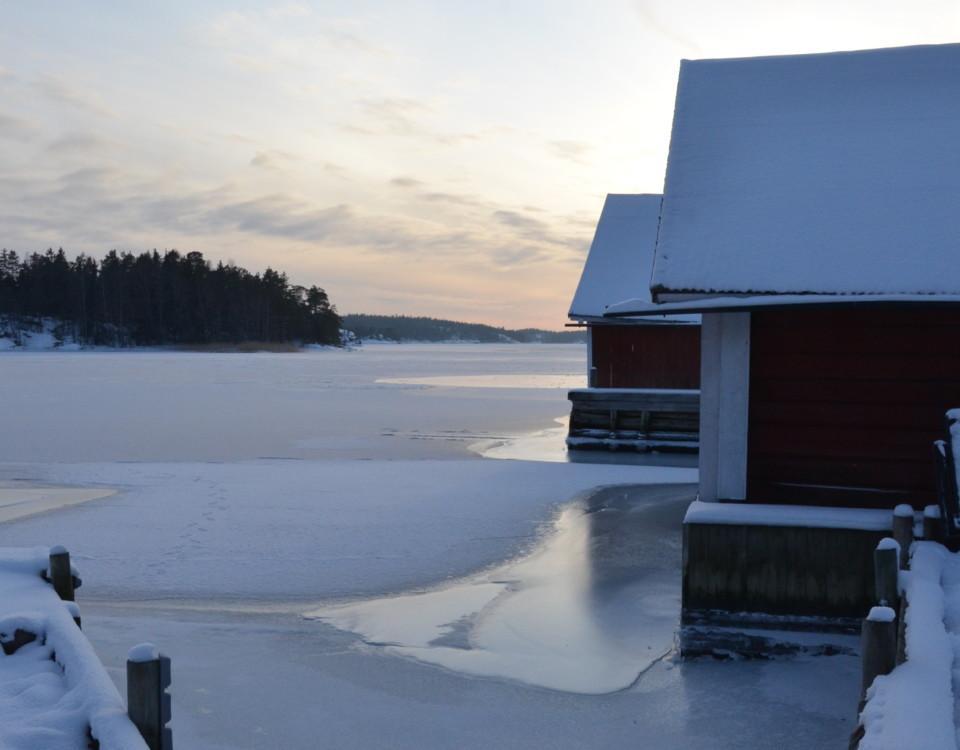 ett vinterlandskap i solnedgången
