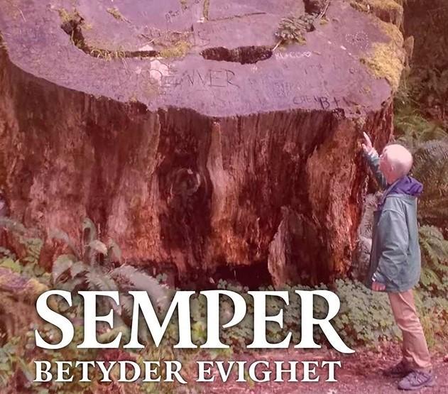 """Omslaget på Nalle Valtialas bok """"Semper betyder evighet"""". På bilden står han själv och tittar upp mot en enorm stubbe som är betydligt större än han själv."""