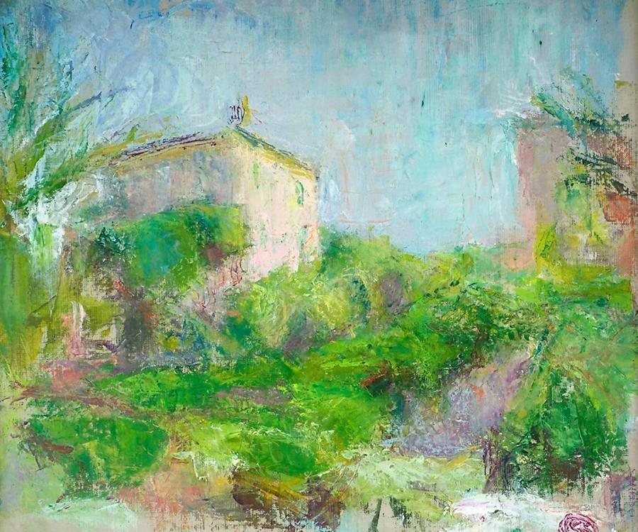 Målning med hus och träd