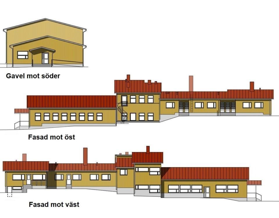 Ritning över hur Träsk skola i Houtskär kunde se ut