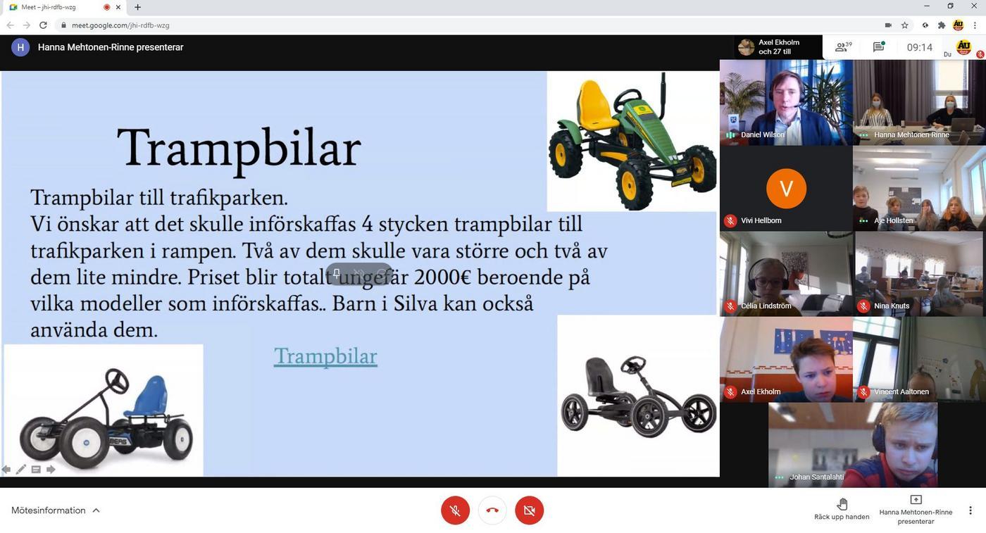 videomöte, ett dokument om trampbilar delas på skärmen