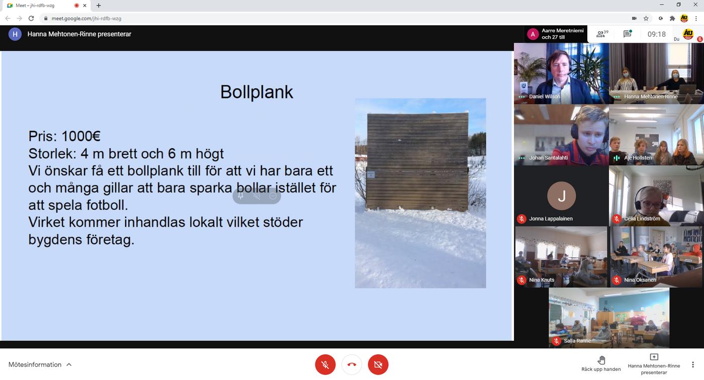 videomöte där ett dokument om bollplank delas