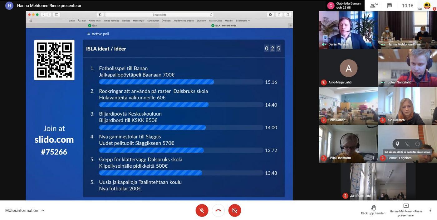 videomöte pågår. En resultatlista delas på skärmen