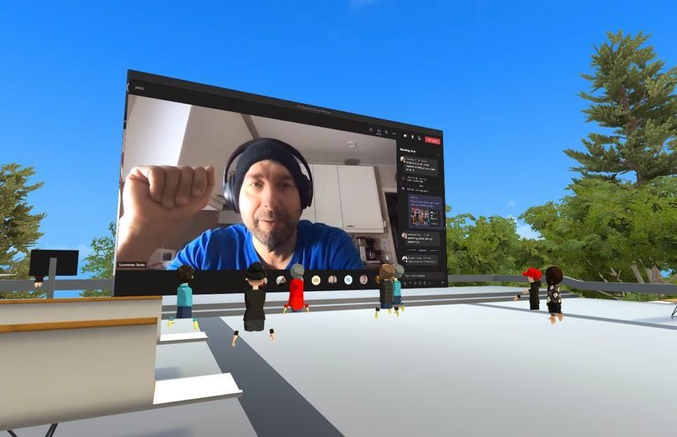 En stor datorskärm och en virtuell miljö.