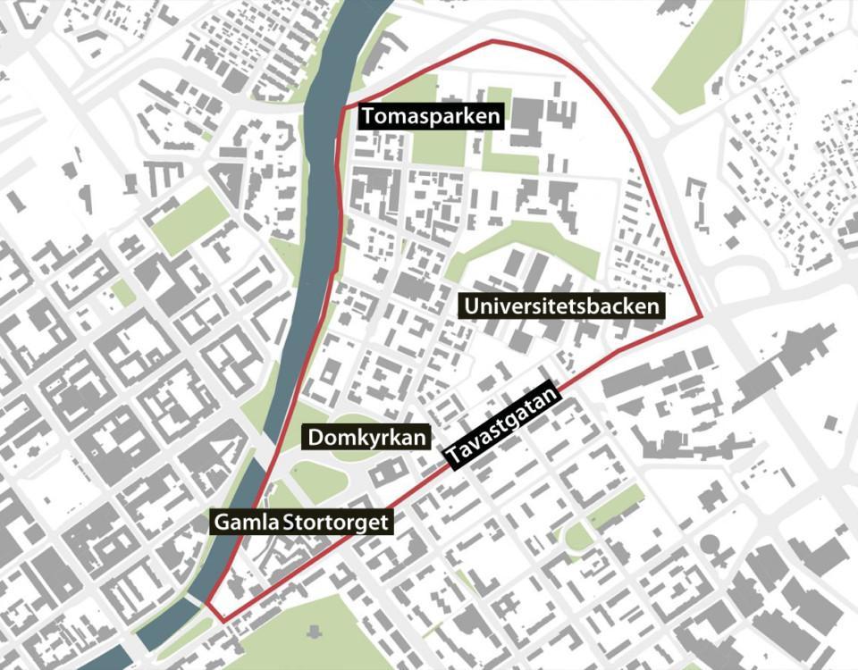 Karta över Åbo historiska kvarter