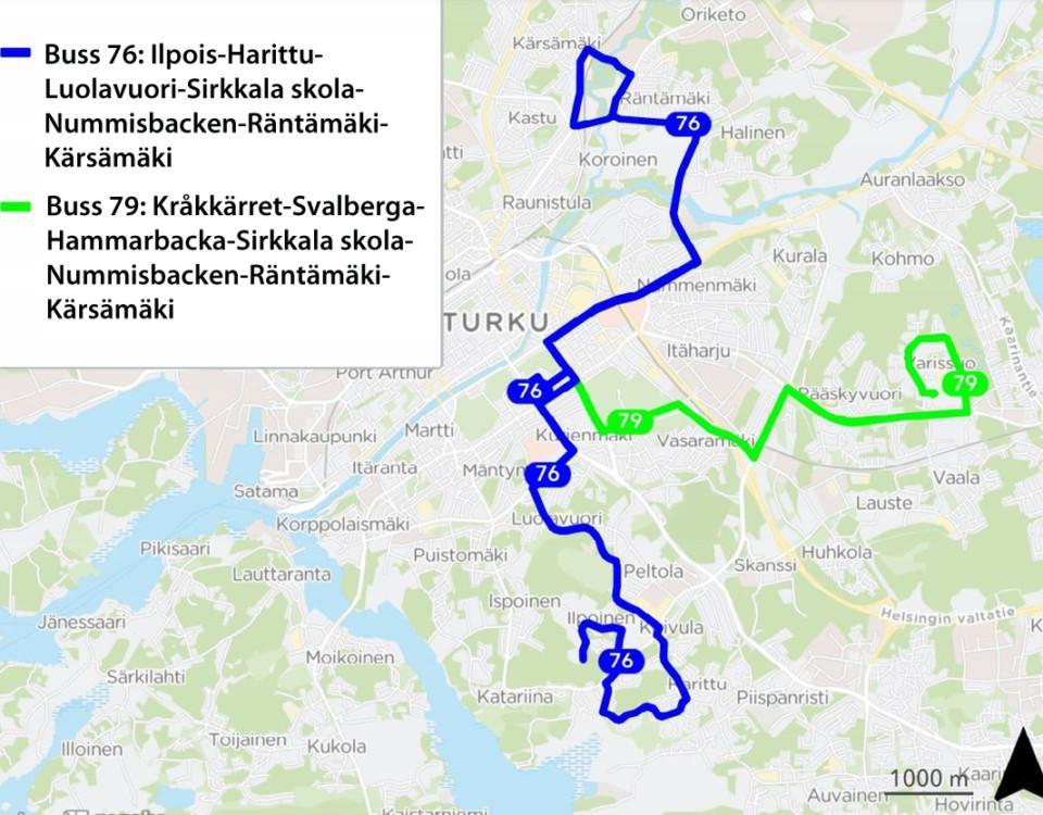 Karta med bussrutter