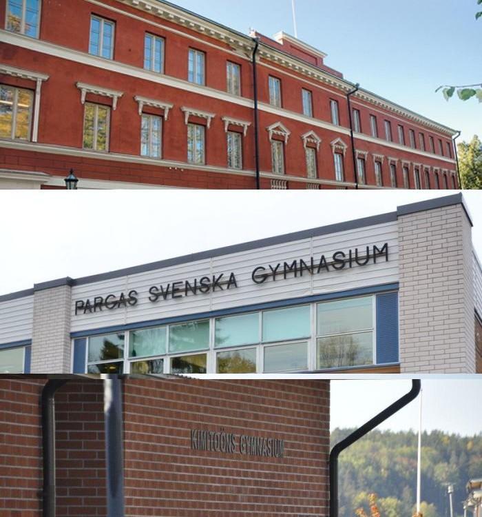 bildkollage av tre skolbyggnader