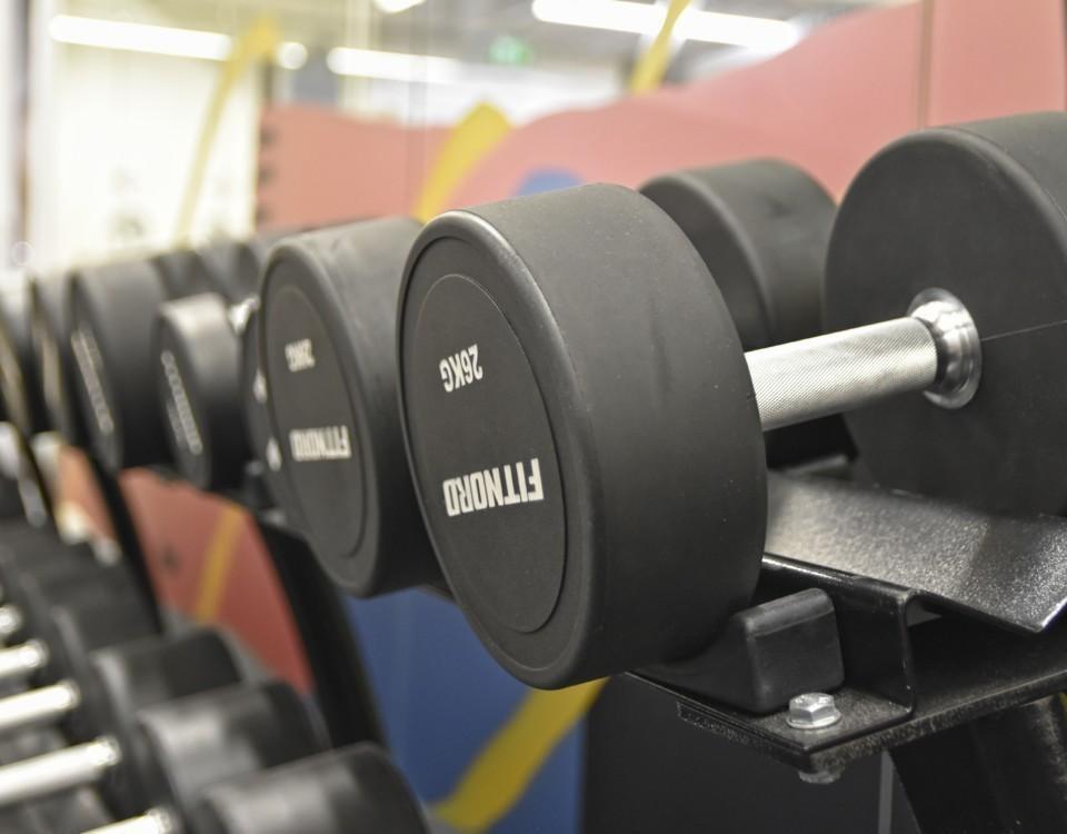 vikter i ett gym