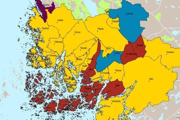 Karta över Egentliga Finland .