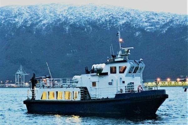 ett svartvitt fartyg i en fjord