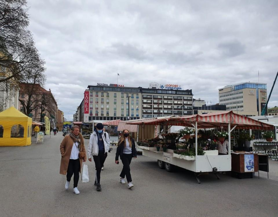 Torgstånd på Salutorget i Åbo