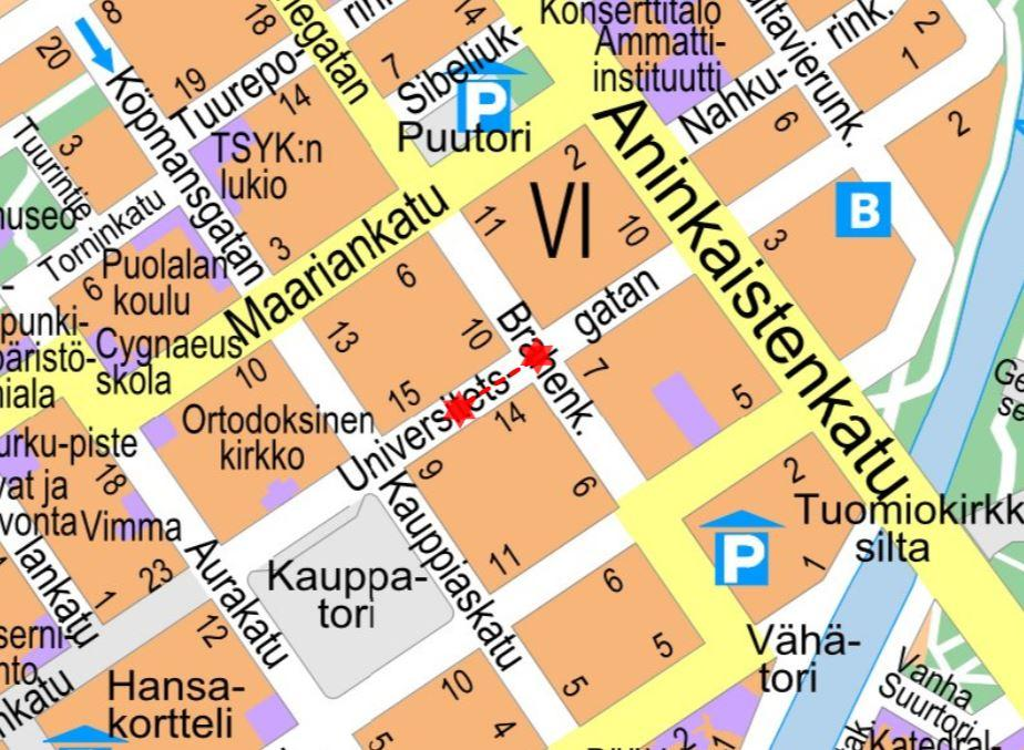 Karta över gator i Åbo, där det finns utmärkt var trafiken kommer att påverkas.
