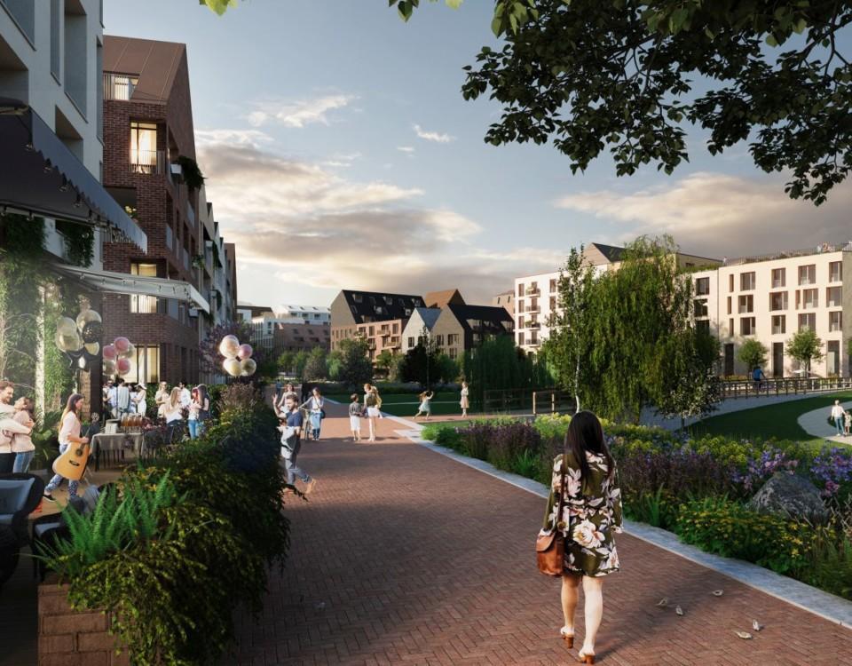 Illustrationsbild av parkområde i nytt bostadsområde