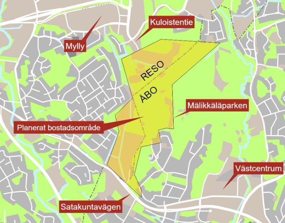 Karta över Åbo och Reso
