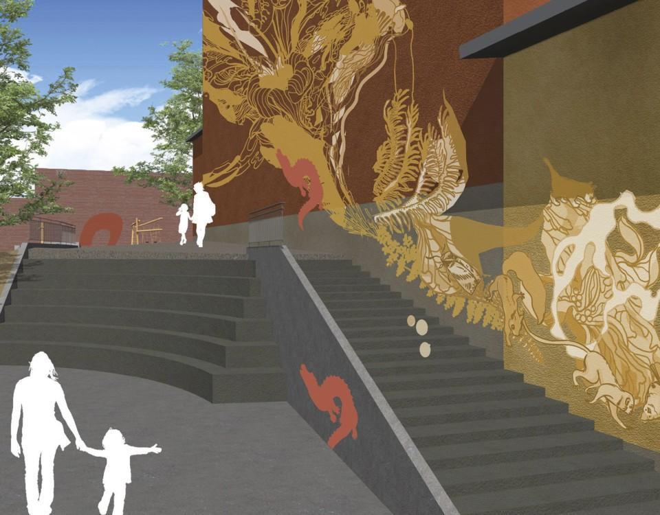 En visionsbild av ett konstverk på en skolas yttervägg.