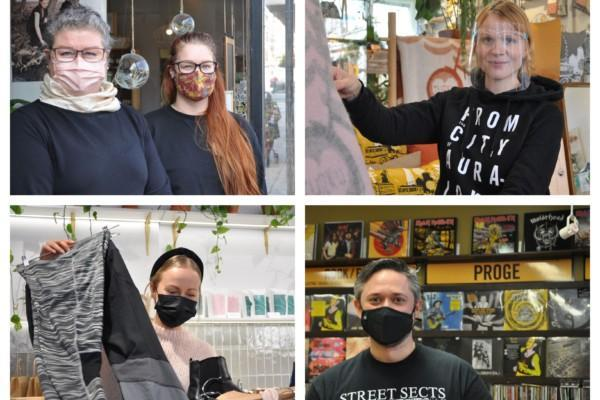 Kollage med ansikten med munskydd