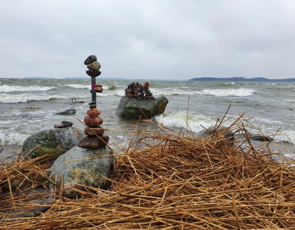 blåsig strand. stenar.