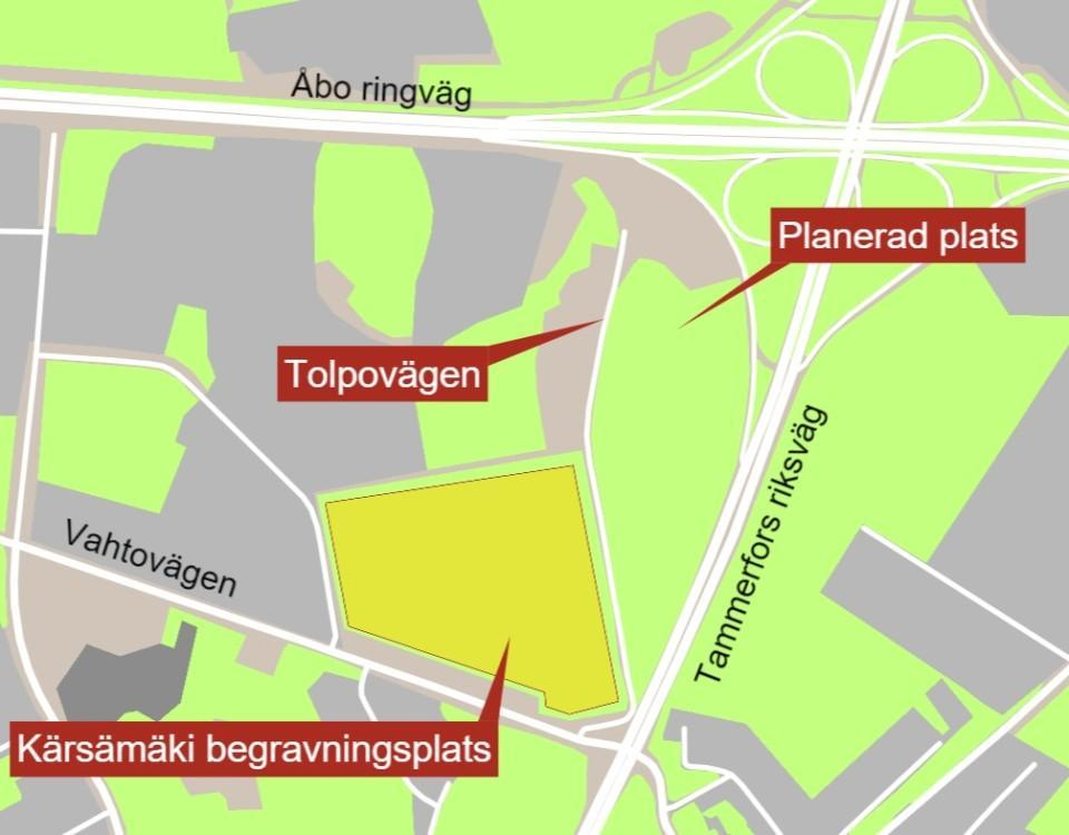 Karta över kvarter i Åbo