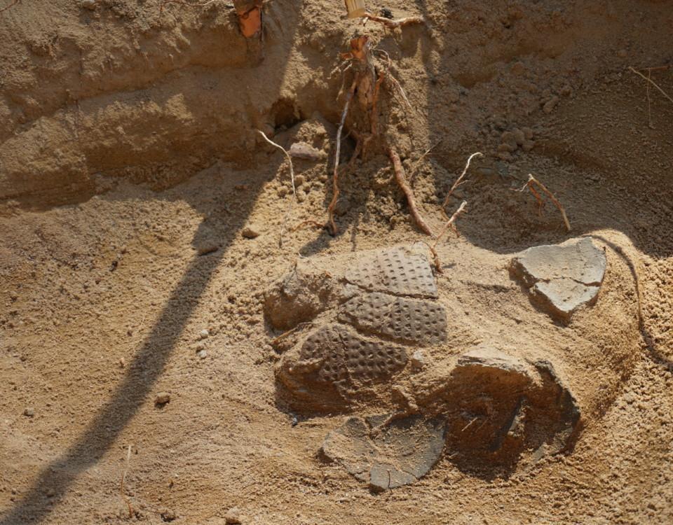 arkeologiska spillror av en kruka