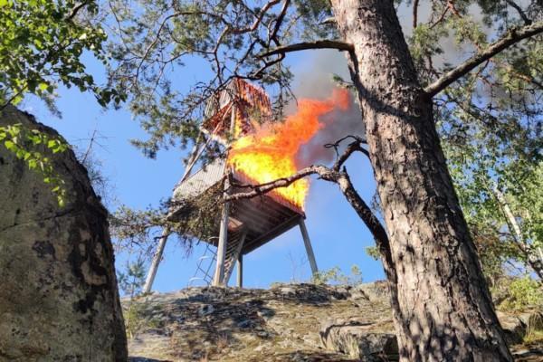 Brinnande fågeltorn fotat nerifrån.