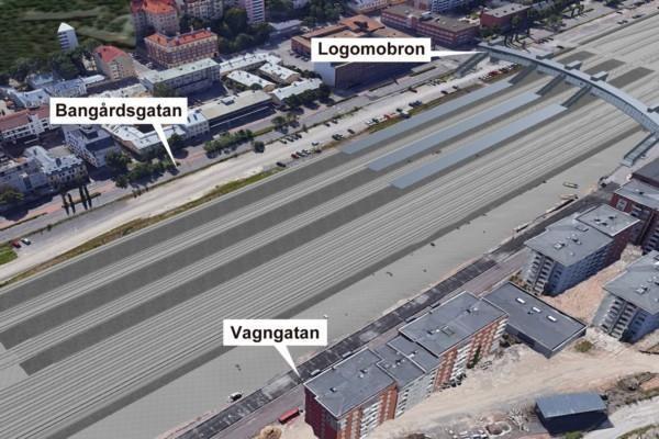 Vision för hur Åbo bangård kunde se ut