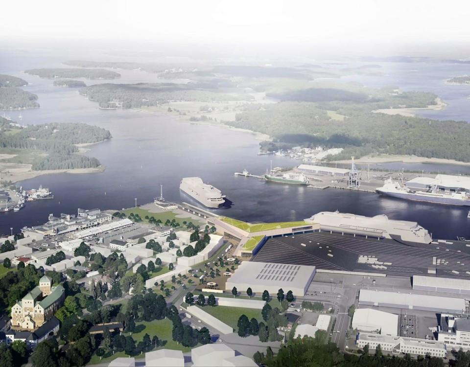 Vision över hur Åbo hamn kunde se ut
