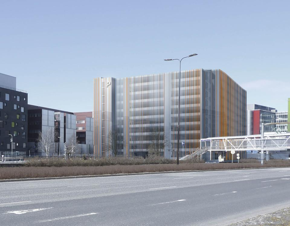 skissbild på parkeringshus i stad