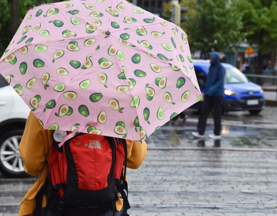 Ett paraply i regnet.