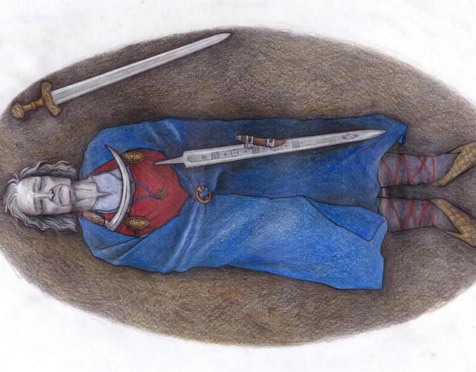 Ritning av medeltida grav