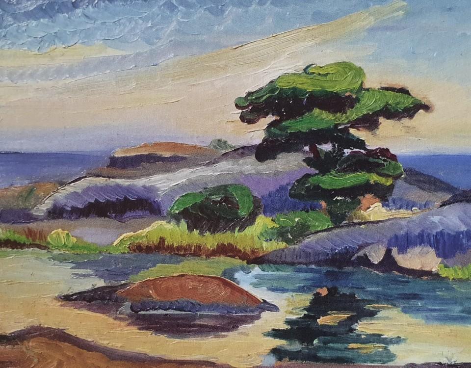 Ett landskap målat i olja.