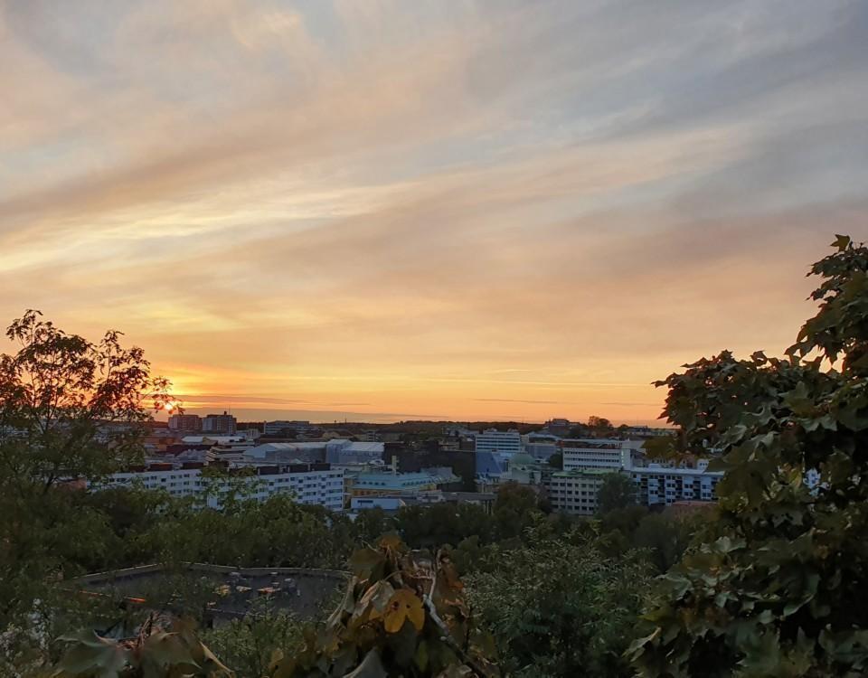 Solnedgång över Åbo stad