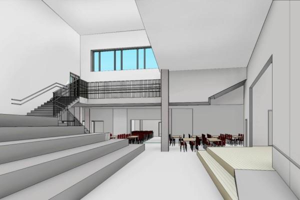 en arkitektskiss över en skolentré