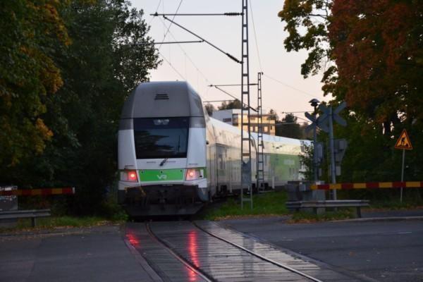 Tåg passerar plankorsning