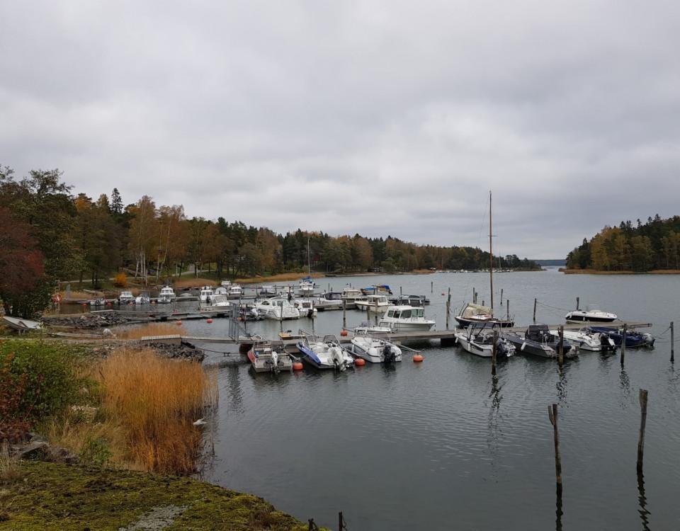 flera mindre bryggor i en vik med båtar