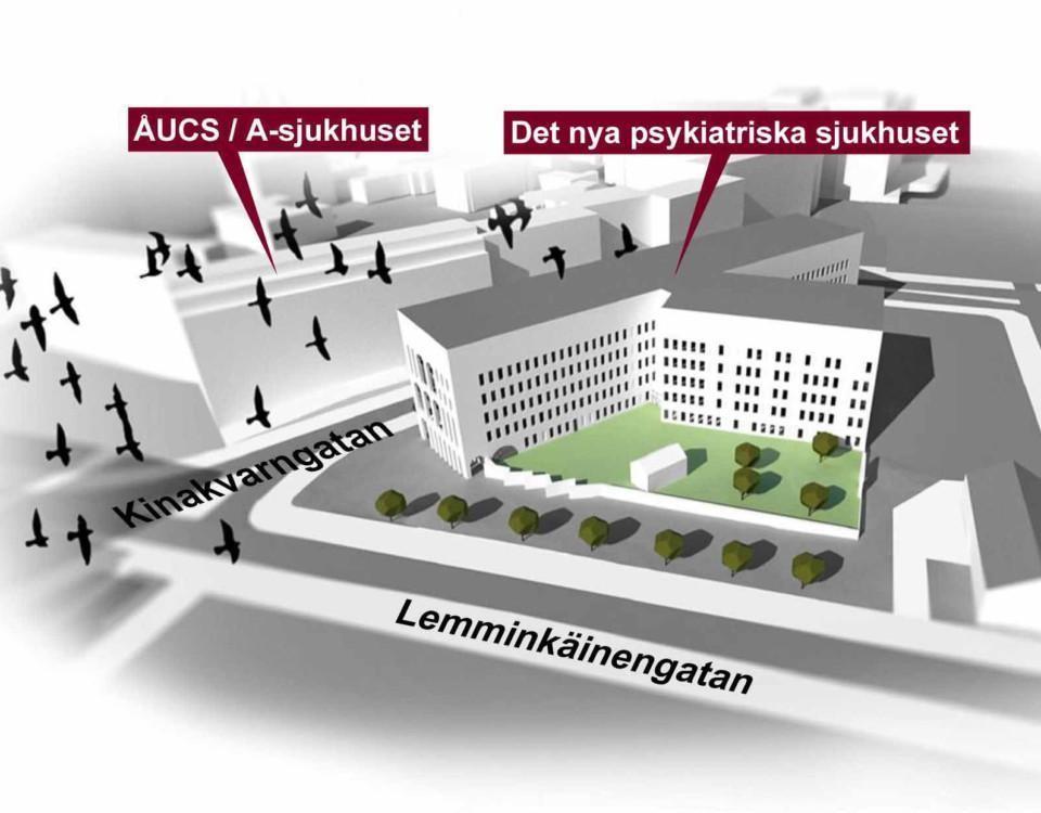 Skiss på hur ett sjukhus kunde se ut